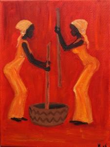 African Women 3 Olieverf op doek 30 x 40 cm